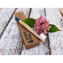Fogkefe bambusz Hydrophil puha sörtével, gyermek méretben, kék nyéllel