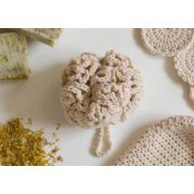 Kézműves horgolt mosdószivacs, bézs színű