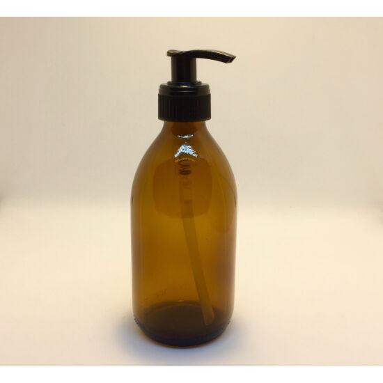 Üveg barna tároló pumpával DIN 28 300ml