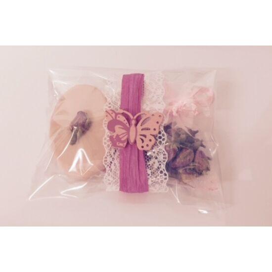 Ajándék szett, rózsa szappan 30g, valódi rózsabimbóval és illatos rózsabimbók organza tasakban 4g, ünnepi dekor csomagolásban