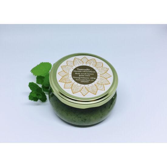 Bőrradír Menta-citromfű, parajdi sóval, organikus szőlőmag-, mandula- és olíva olajjal 280g