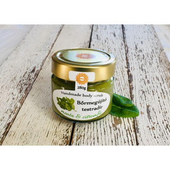 Bőrradír Menta-citromfű, parajdi sóval, szőlőmag-, mandula- és olíva olajjal 280g