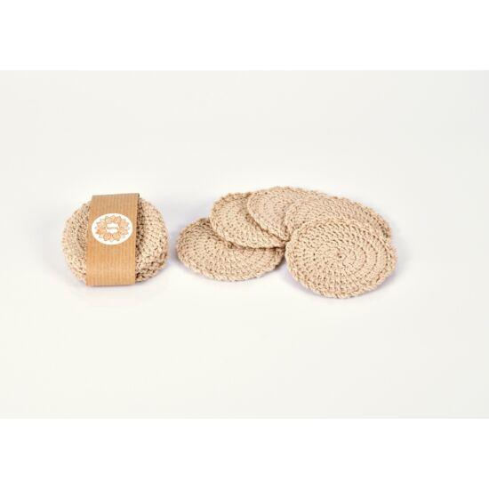 Kézműves horgolt arctisztító korong 10 db, bézs színű