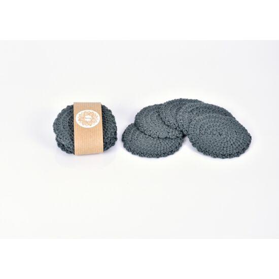 Kézműves horgolt arctisztító korong 5 db, szürke színű