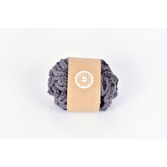Kézműves horgolt mosdószivacs, szürke színű